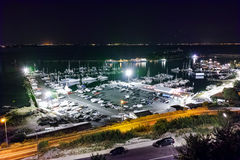 Night Seascape of the port of Sozopol, Bulgaria Stock Photography