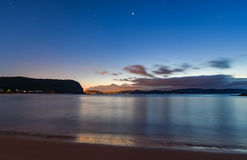 Night Seascape. Waiting for the sunrise at Pearl Beach, Central Coast, NSW, Australia Royalty Free Stock Images