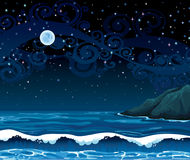 Night seascape with waves, island and full moon Royalty Free Stock Photography