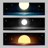 The Night Seascapes set Royalty Free Stock Images