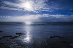 Night seaside city lights moonlight Royalty Free Stock Image