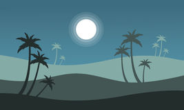 At night seaside scenery with palm Royalty Free Stock Photo