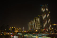 Night secne cityscape of buildings in Tianjin city,China. Royalty Free Stock Images