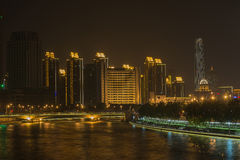 Night secne cityscape of buildings in Tianjin city,China. Stock Photo