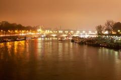 Night on Seine, Paris. Royalty Free Stock Photo