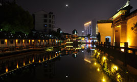 Night sences of Yishang Street in Huzhou. Yishang Street in Huzhou is historic commercial street and attraction. night scenes here is very beautiful in the Royalty Free Stock Image