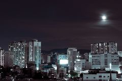 Night Seoul landscape, South Korea. landscape of the night city of the future. Dense buildings houses the city center. city among the mountains, night view royalty free stock photo