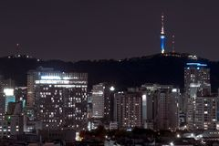 Night Seoul landscape, South Korea. landscape of the night city of the future. Dense buildings houses the city center. city among the mountains, night view stock photo