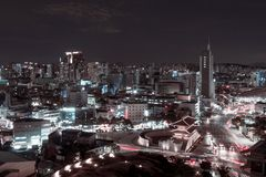 Night Seoul landscape, South Korea. landscape of the night city of the future. Night city with a lot of traffic. light trail from cars on the background of the royalty free stock image