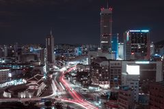 Landscape of the night city of the future. Night Seoul landscape, South Korea. landscape of the night city of the future. night city with a lot of traffic royalty free stock photography