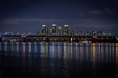Night Seoul, river, briges, South Korea royalty free stock image