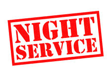NIGHT SERVICE. Red Rubber Stamp over a white background Royalty Free Stock Photo
