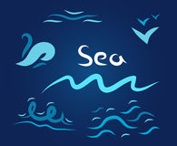 Night set the wave sea. Gulls sun on a white character stock illustration