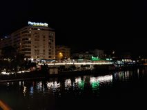 Night Sevilla along side the river royalty free stock image