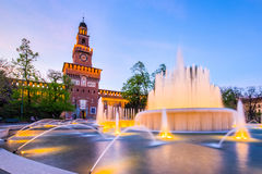 Night at Sforza Castle in Milan, Italy Stock Image