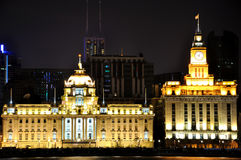 Night of Shanghai Bund buildings, China. Night view of Shanghai Bund historic buildings, shown as beautiful business city night landscape, and city tourism in Royalty Free Stock Photos