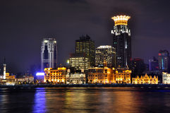 Night of Shanghai Bund and Huang-pu river, China Stock Photography