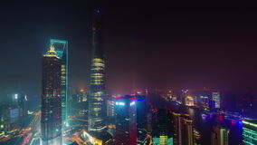 Night shanghai city downtown buildings roof top panorama 4k time lapse china. China night light shanghai city downtown buildings roof top panorama 4k time lapse stock video
