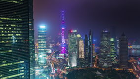 Night shanghai downtown roof top traffic streets panorama 4k time lapse china. China night shanghai cityscape downtown roof top traffic streets panorama 4k time stock video footage