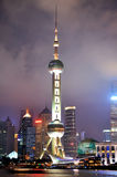Night of Shanghai oriental pearl tower and city Royalty Free Stock Image