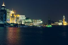 Night Shanghai skyline with reflections in Huangpu river. Stock Photography