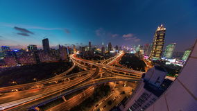 Night shanghai traffic road junction roof top panorama 4k time lapse china. China sunset night shanghai traffic road junction roof top panorama 4k time lapse stock video