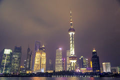 Night in Shanghai. Night view of Huangpu River and modern building,Shanghai,China royalty free stock image