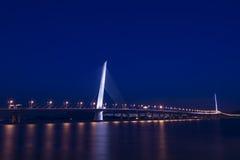 The Night of Shenzhen Bay Bridge. Under the light of the Shenzhen Bay Bridge stock photography