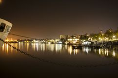 Night shift on Danube river stock photo