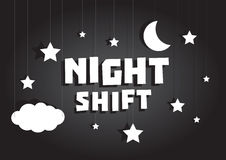 Night shift sign hanging with stars and moon sky Stock Photos