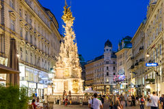 Night Shopping On Graben Street In Vienna Stock Photo
