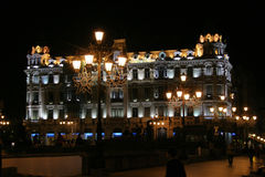Night shot. Night lights on a hotel in the town of Oviedo royalty free stock photos