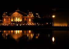 Night shot of Amsterdam architecture. Concert hall, Amsterdam; night shot and reflections Royalty Free Stock Image