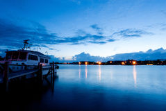 Night shot of Anping fishing port in Taiwan Stock Photos
