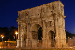 Night shot of the Arch of Triumph in Rome, Italy. Night shot of the Arch of Triumph in a city, Arch Of Constantine, Rome, Lazio, Italy Stock Image