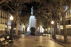 Night shot of the Arriaga avenue in Funchal Royalty Free Stock Photography