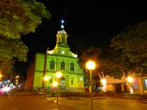 Night shot of baroque style church Royalty Free Stock Images