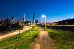 Beautiful urban park at Santiago de Chile. Night shot of a beautiful urban park at Santiago de Chile Royalty Free Stock Photo