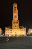 Night shot of the Belfry in Bruges, landmark Royalty Free Stock Photography
