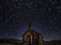 Bodie ghost town church star trails royalty free stock photography