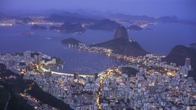Night shot of botafogo and sugarloaf mountai in rio de janeiro, brazil. Night shot of botafogo and mt sugarloaf from christ the redeemer in rio de janeiro royalty free stock photos