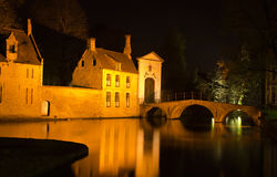Night Shot of Bridge in Brugge Belgium Stock Photo
