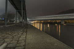 Night shot of a bridge in Regensburg, Bavaria, Germany Royalty Free Stock Image