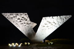 Night shot of Broken wings monument Stock Photo