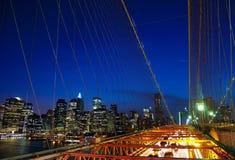 Night Shot on Brooklyn Bridge Stock Image