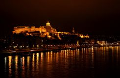 Night shot of Buda Castle and Danube river Stock Photography