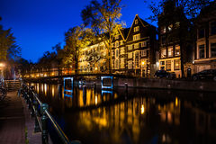 Night shot of canal of Amsterdam Stock Photos