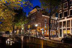 Night shot of canal of Amsterdam Royalty Free Stock Images