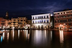 Night shot of the canal in Venice, Italy. stock photography