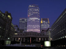 Night Shot Of Canary Wharf In Docklands Stock Photos